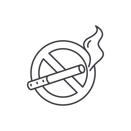 No smoking line icon concept. No smoking vector linear illustration, sign, symbol