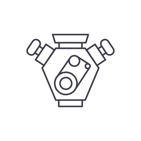 Motor cars line icon concept. Motor cars vector linear illustration, sign, symbol