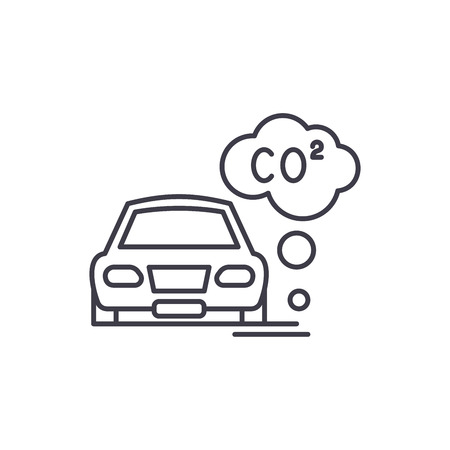 Motor vehicle pollution line icon concept. Motor vehicle pollution vector linear illustration, sign, symbol