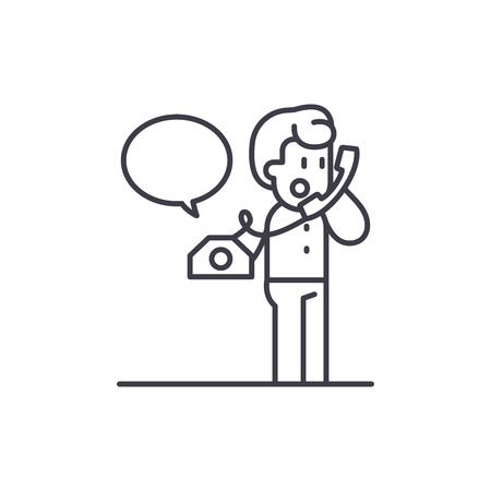 Negotiations on the phone line icon concept. Negotiations on the phone vector linear illustration, sign, symbol Banco de Imagens - 127494013