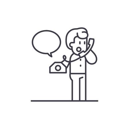 Negotiations on the phone line icon concept. Negotiations on the phone vector linear illustration, sign, symbol Ilustração