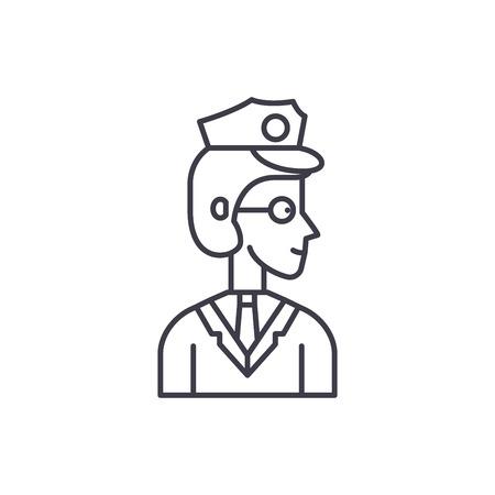 Officer line icon concept. Officer vector linear illustration, sign, symbol