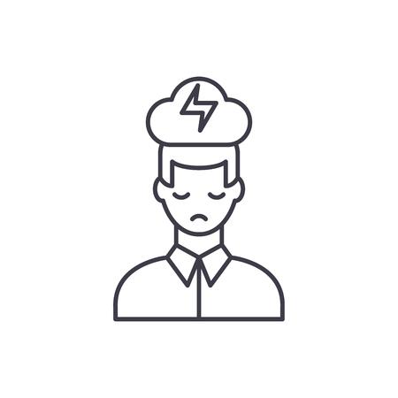 Nervous breakdown line icon concept. Nervous breakdown vector linear illustration, sign, symbol