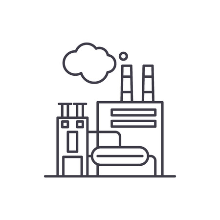 Manufacturing facility line icon concept. Manufacturing facility vector linear illustration, sign, symbol