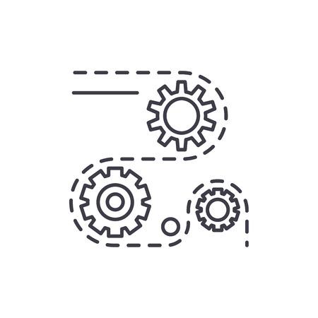 Fertigungsprozesse Symbol Leitung Konzept. Herstellungsverfahren lineare Vektorgrafik, Zeichen, Symbol