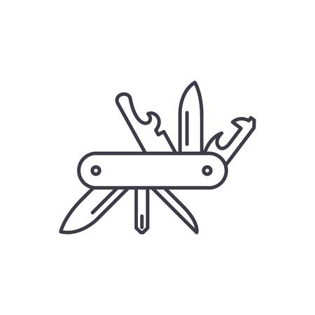 Multi knife line icon concept. Multi knife vector linear illustration, symbol, sign