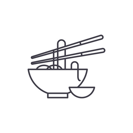 Noodles line icon concept. Noodles vector linear illustration, sign, symbol