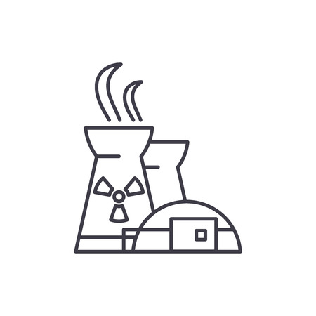 Nuclear power plant line icon concept. Nuclear power plant vector linear illustration, sign, symbol Standard-Bild - 127494050
