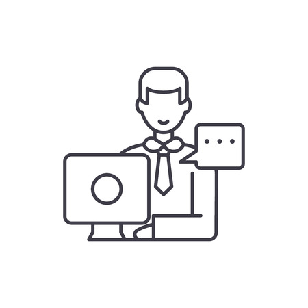 Operational meeting line icon concept. Operational meeting vector linear illustration, sign, symbol