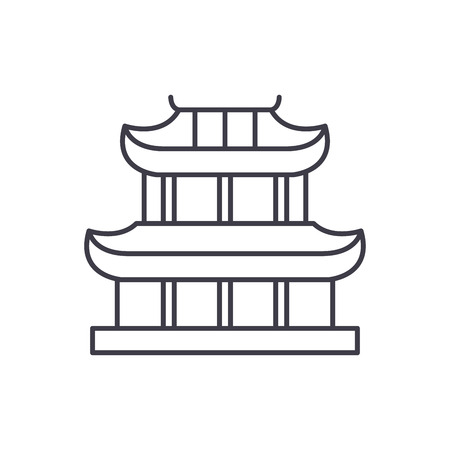 Pagoda line icon concept. Pagoda vector linear illustration, sign, symbol