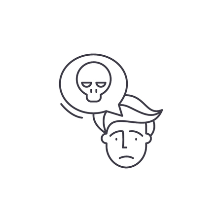 Panic line icon concept. Panic vector linear illustration, sign, symbol