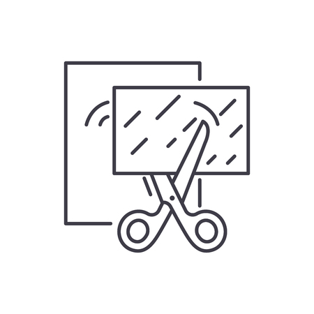 Paper cutting line icon concept. Paper cutting vector linear illustration, sign, symbol Stock Illustratie