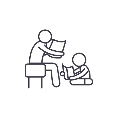 Parent reading a story to a child line icon concept. Parent reading a story to a child vector linear illustration, sign, symbol
