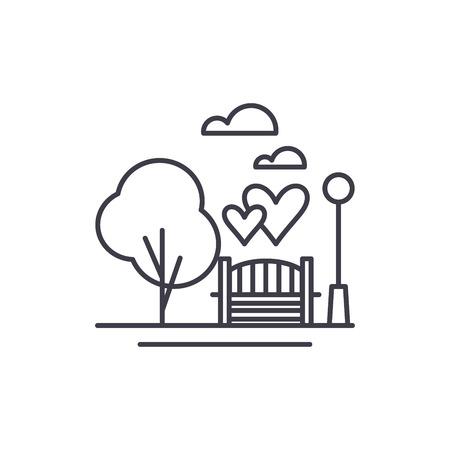 Park line icon concept. Park vector linear illustration, sign, symbol