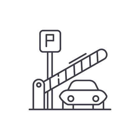 Parkeerplaats lijn pictogram concept. Parkeerplaats lineaire vectorillustratie, teken, symbool