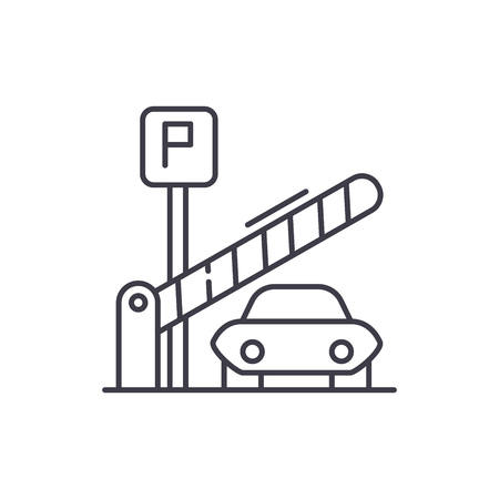 Parking lot line icon concept. Parking lot vector linear illustration, sign, symbol Stock Illustratie