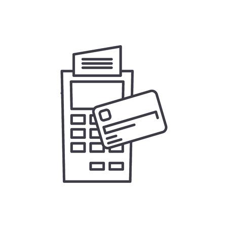 Payment by non cash money line icon concept. Payment by non cash money vector linear illustration, sign, symbol