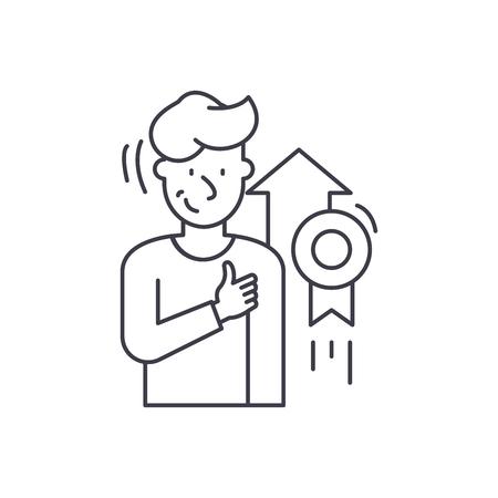 Personal achievement line icon concept. Personal achievement vector linear illustration, sign, symbol Illustration