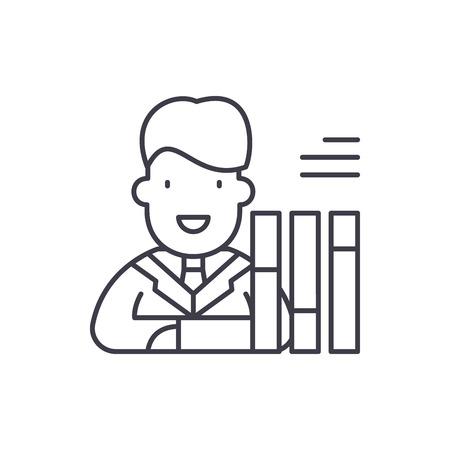 Personnel scorecard line icon concept. Personnel scorecard vector linear illustration, sign, symbol
