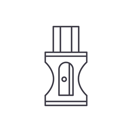 Pencil sharpener line icon concept. Pencil sharpener vector linear illustration, sign, symbol