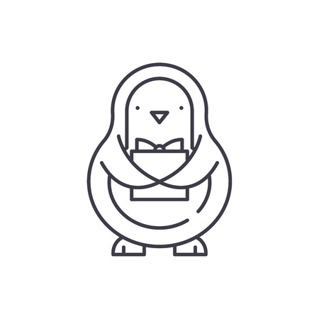 Penguin line icon concept. Penguin vector linear illustration, sign, symbol