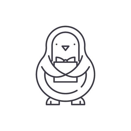 Penguin line icon concept. Penguin vector linear illustration, sign, symbol