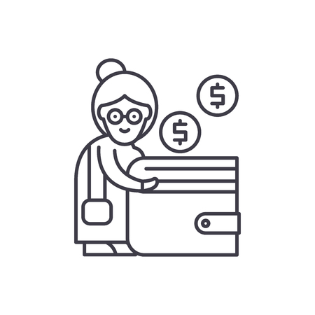Pension contribution line icon concept. Pension contribution vector linear illustration, sign, symbol