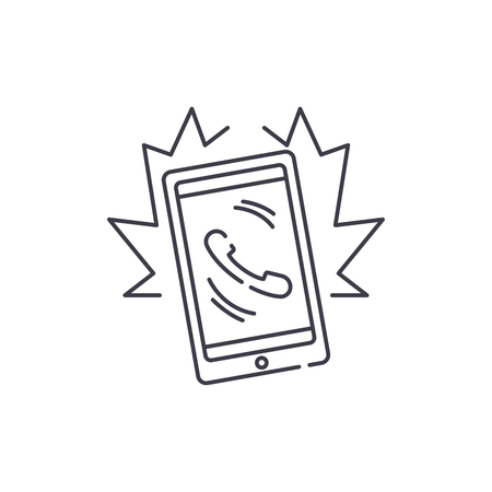 Phone call line icon concept. Phone call vector linear illustration, sign, symbol