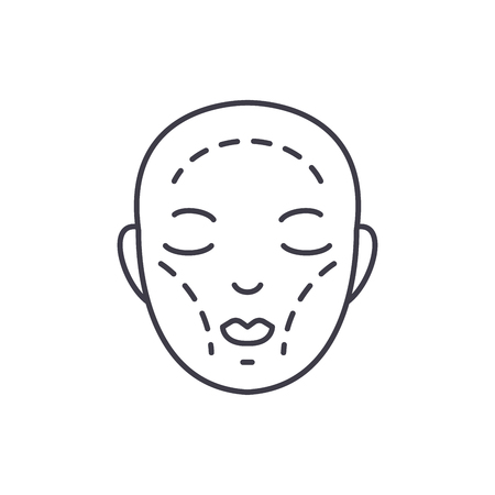 Plastic surgery line icon concept. Plastic surgery vector linear illustration, sign, symbol  イラスト・ベクター素材