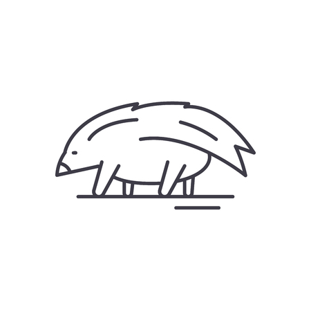 Porcupine line icon concept. Porcupine vector linear illustration, sign, symbol Illustration