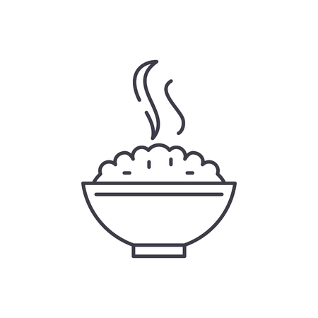 Porridge line icon concept. Porridge vector linear illustration, sign, symbol Imagens - 127494135