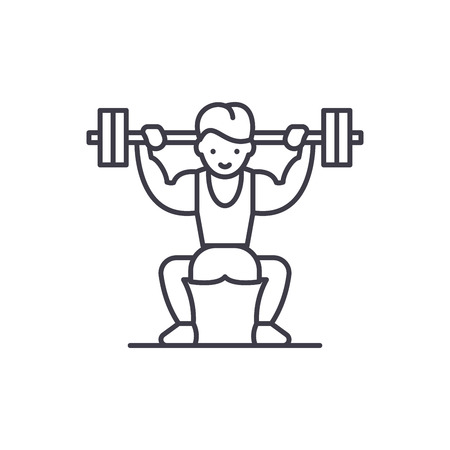 Power lifting line icon concept. Power lifting vector linear illustration, sign, symbol 일러스트