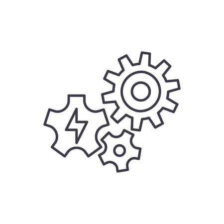 Power supply line icon concept. Power supply vector linear illustration, sign, symbol