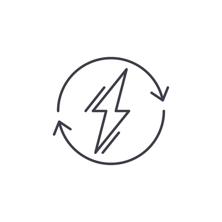 Power usage line icon concept. Power usage vector linear illustration, sign, symbol