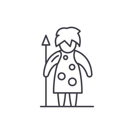 Prehistoric man line icon concept. Prehistoric man vector linear illustration, sign, symbol Illustration