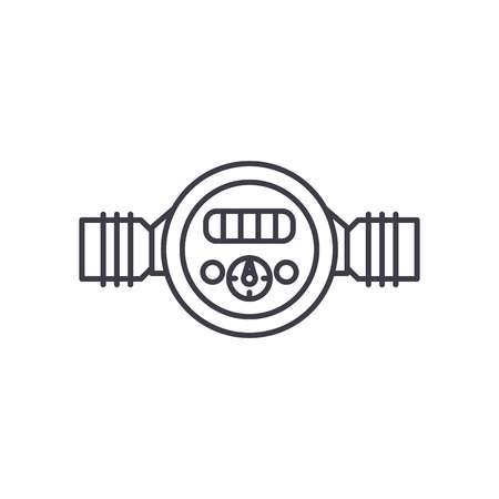 Pressure meter line icon concept. Pressure meter vector linear illustration, sign, symbol Ilustracja