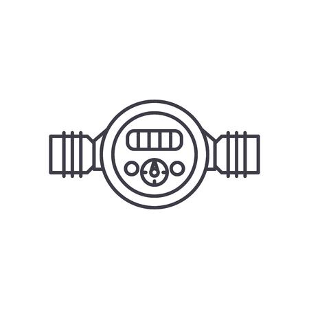 Pressure meter line icon concept. Pressure meter vector linear illustration, sign, symbol Illustration