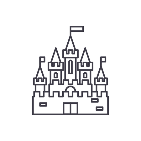 Princess castle line icon concept. Princess castle vector linear illustration, sign, symbol