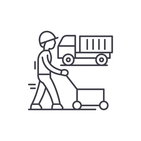 Production cycle line icon concept. Production cycle vector linear illustration, sign, symbol Illustration