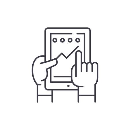 Progress in the application line icon concept. Progress in the application vector linear illustration, sign, symbol