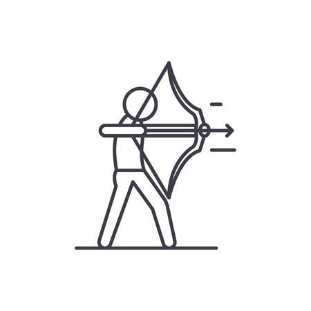 Purposefulness line icon concept. Purposefulness vector linear illustration, sign, symbol