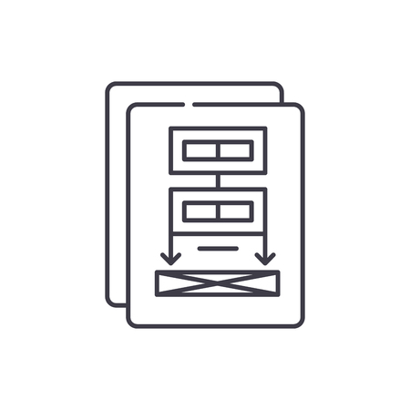 Project documentation line icon concept. Project documentation vector linear illustration, sign, symbol Иллюстрация