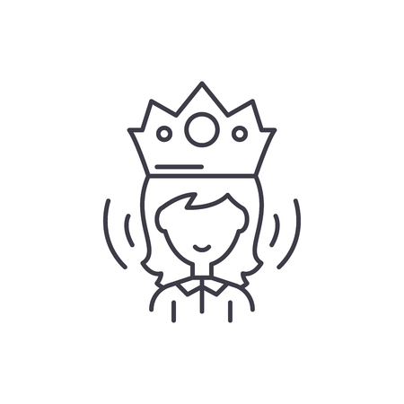 Queen line icon concept. Queen vector linear illustration, sign, symbol 일러스트