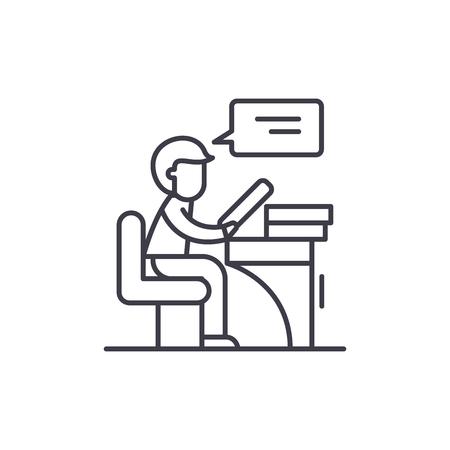 Reader line icon concept. Reader vector linear illustration, sign, symbol Illustration