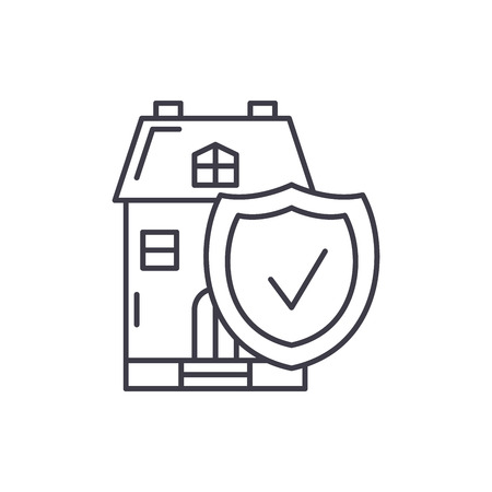 Real estate insurance line icon concept. Real estate insurance vector linear illustration, sign, symbol