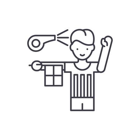 Referee line icon concept. Referee vector linear illustration, sign, symbol