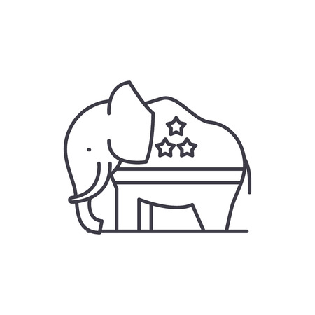 Republican elephant line icon concept. Republican elephant vector linear illustration, sign, symbol