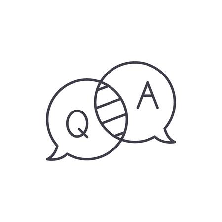 Fragen und Antworten Symbol Leitung Konzept. Fragen und Antworten lineare Vektorgrafik, Zeichen, Symbol
