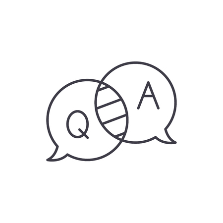 Questions and answers line icon concept. Questions and answers vector linear illustration, sign, symbol 版權商用圖片 - 127494205