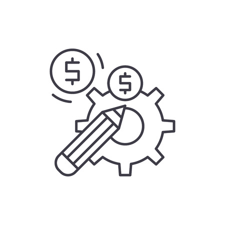 Profitable solution line icon concept. Profitable solution vector linear illustration, sign, symbol